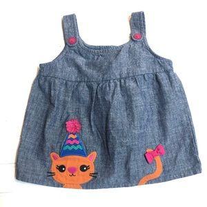Gymboree Chambray Jumper Dress Cat Party Hat
